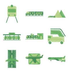 Set of flat icons in shading style logistics vector