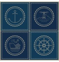 Set of marine emblem vector