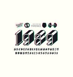 Slab serif bulk font with glitch distortion effect vector