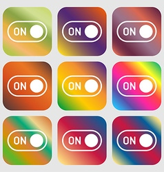 Start icon sign nine buttons with bright gradients vector