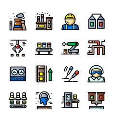 thin line factory icons set vector image