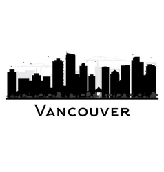 Vancouver city skyline black and white silhouette vector