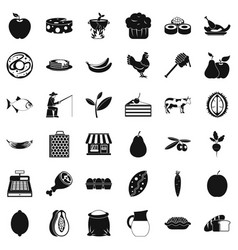 Verdant icons set simple style vector