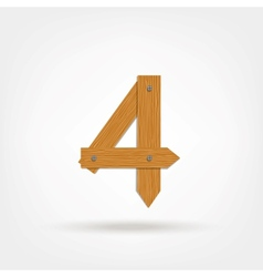 Wooden Boards Number Four vector image vector image