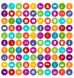 100 street festival icons set color vector