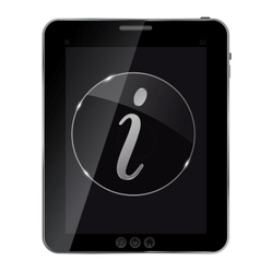 Glass information button icon on abstract tablet vector