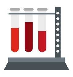 Vial for blood collection icon flat style vector