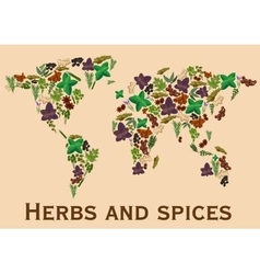 Herbs and spices flat icons in world map shape vector image