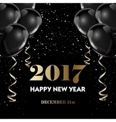 Happy new year 2017 fancy gold champagne and black vector