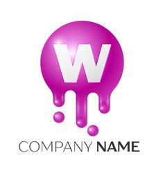W letter splash logo purple dots and bubbles vector