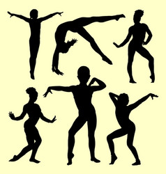 Gymnastic sport activity silhouette vector