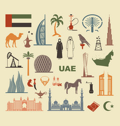 Set of icons united arab emirates vector