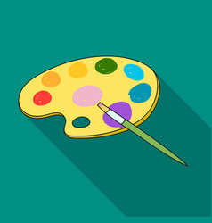 Painting palette with paintbrush icon in flat vector