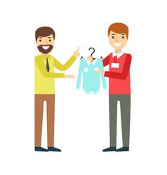 Man choosing shirt during apparel shopping at vector
