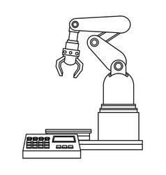 digital controller for robot in factory smart vector image