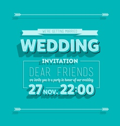 Wedding invitation blue typography vector
