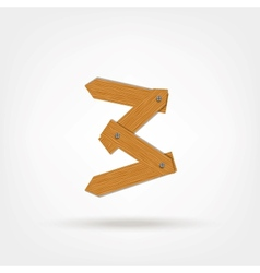 Number three made from wooden boards for your vector