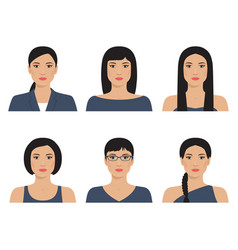 Asian womans with various hairstyle vector