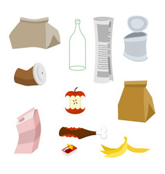 Rubbish icon collection garbage set trash sign vector