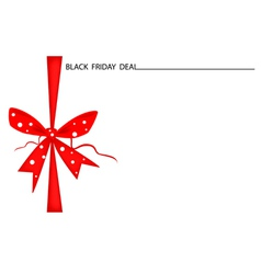 Black friday gift card with red ribbon vector
