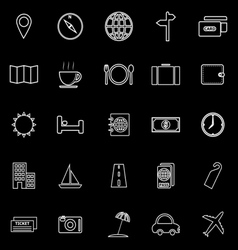 Travel line icons on black background vector