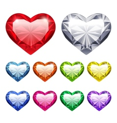 Gem hearts set vector