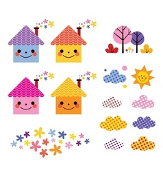 Cute houses kids design elements set vector