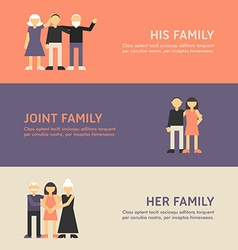 His family joint family and her family flat design vector