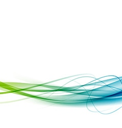 Green to blue line swoosh abstract background vector image
