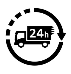 24 hour delivery symbol with truck vector