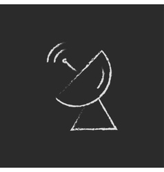 Radar satellite dish drawn in chalk vector