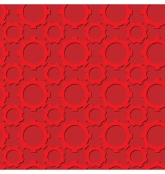 Seamless gear pattern red color with shadows vector