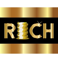 Rich word with stack of golden coins vector