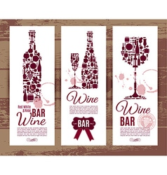 Wine bar menu cardbanners set vector
