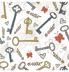 Stylish seamless pattern with vintage keys vector