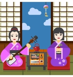 Two geisha tea ceremony vector