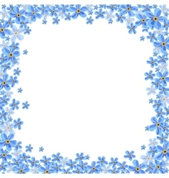 frame with blue forget-me-not flowers vector image