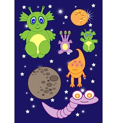 Cartoon cute monsters space of astronauts aliens vector