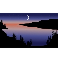 Lake at night scenery vector