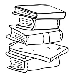 Black and white pile of books vector