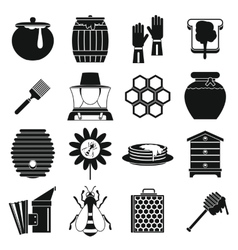 Apiary tools icons set simple style vector