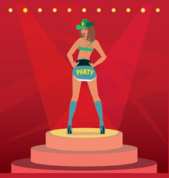 Attractive girl in sexy outfit dancing on stage vector