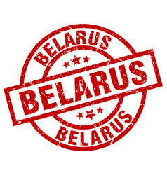 Belarus red round grunge stamp vector