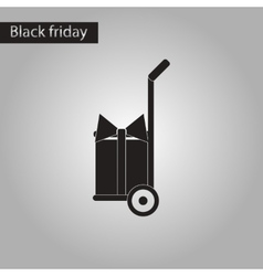 Black and white style icon gift delivery vector