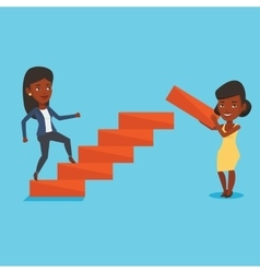 Business woman runs up the career ladder vector image