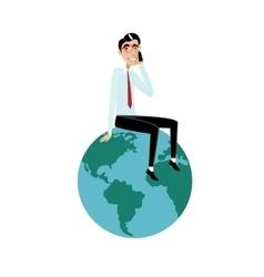 Businessman sitting on globe vector