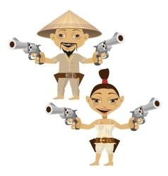 Chinese cartoon man and woman with guns vector image vector image