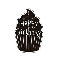 chocolate cupcake happy happy birthday design vector image