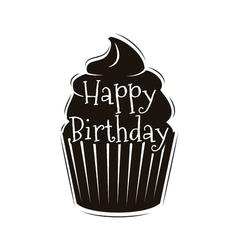 Chocolate cupcake happy happy birthday design vector