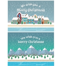 Christmas holiday season small town in snowfall vector